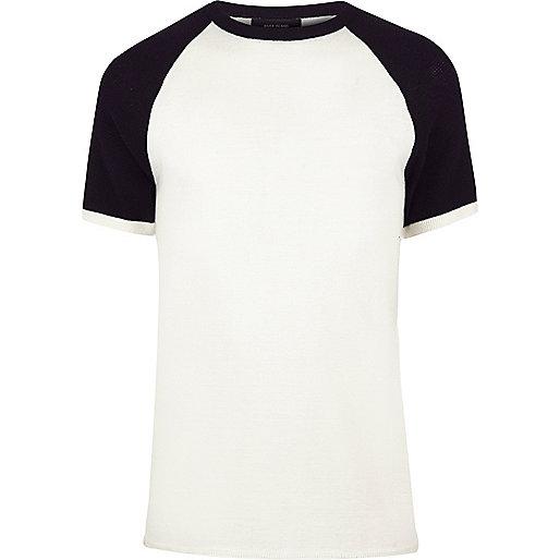 T-shirt écru en maille contrastante