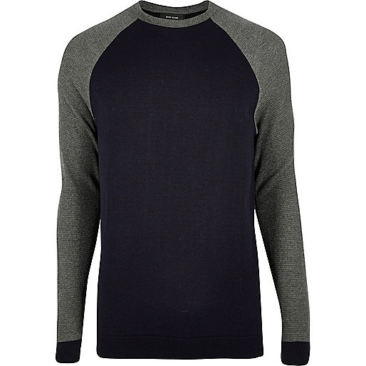 Navy contrast long sleeve T-shirt