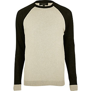 Stone contrast sleeve sweater