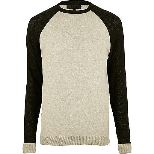 Stone contrast sleeve sweater