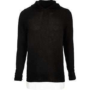 Black layered longline hoodie