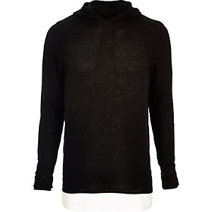 Black double layer hoodie