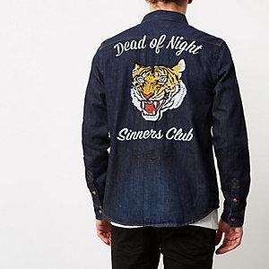 Blue 'Sinners Club' denim shirt