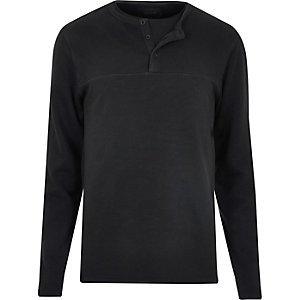 Black long sleeve grandad sweater