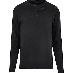 Black long sleeve grandad sweater