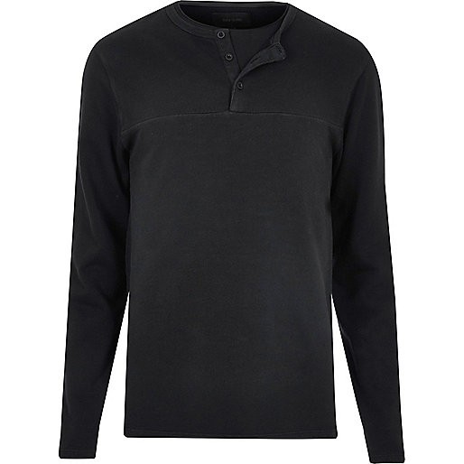 Schwarzer, langärmeliger Grandad-Pullover