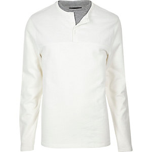 White double layer grandad jumper