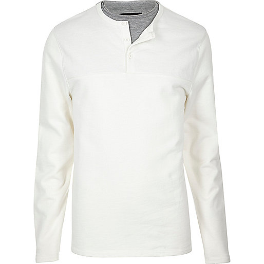 White double layer grandad sweater