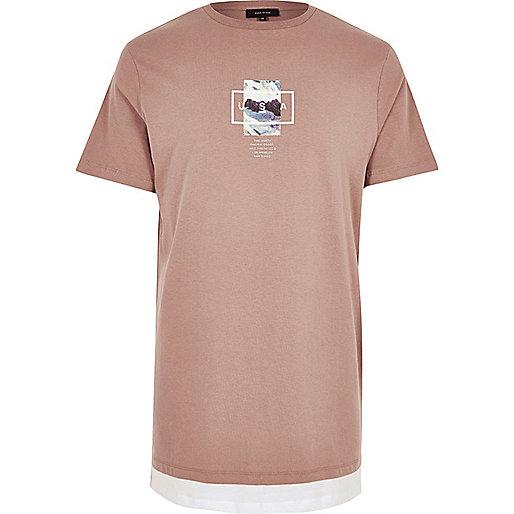 Dark red mountain print longline T-shirt