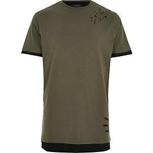 Langes T-Shirt in Khaki
