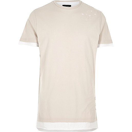 Ecru nibbled longline T-shirt