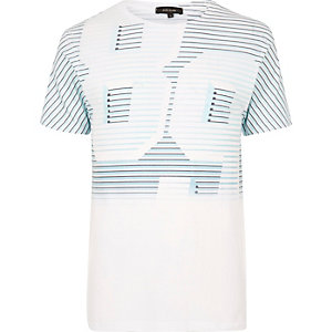 White and blue number print T-shirt