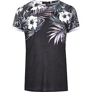 Black floral shoulder print T-shirt