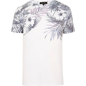 White floral shoulder print T-shirt