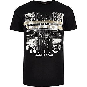 Black NYC metallic print T-shirt