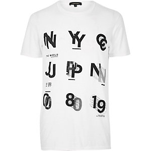 White NYC/Japan print T-shirt