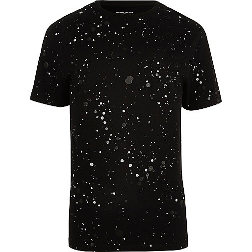 Black splatter print T-shirt