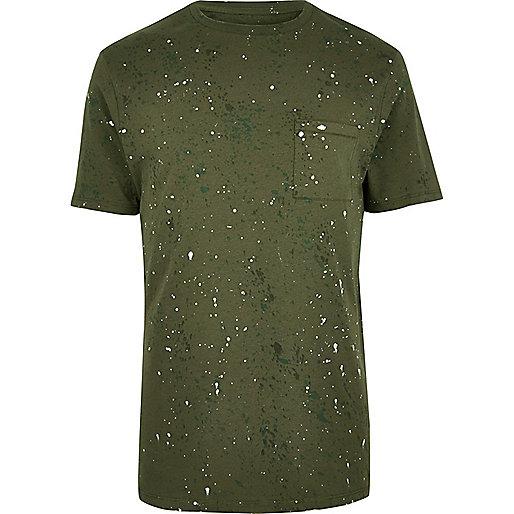 Khaki splatter print T-shirt
