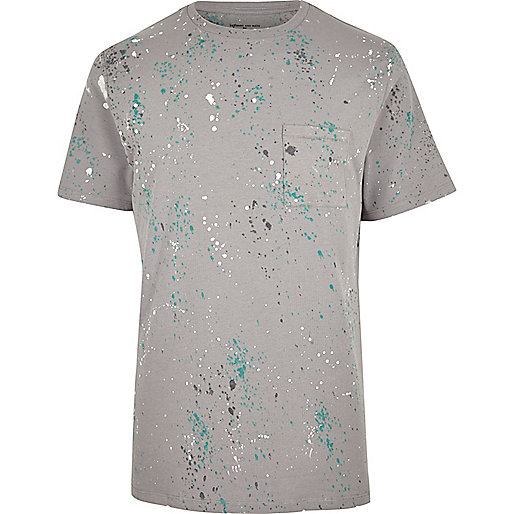 Grey splatter print T-shirt