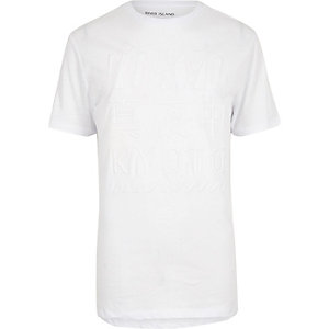 White debossed print T-shirt