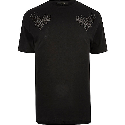Black eagle embroidered T-shirt