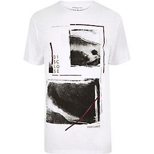 White print longline T-shirt