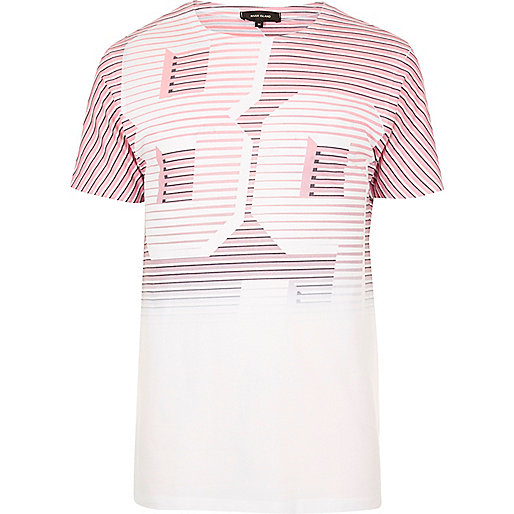 White and red number print T-shirt