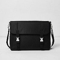 Black buckled messenger bag