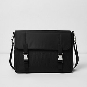 Black buckled messenger bag