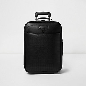 Black perforated leather look suitcase