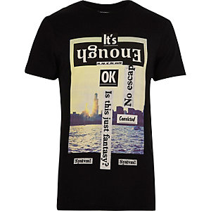 Black Systvm 'Enough' print T-shirt