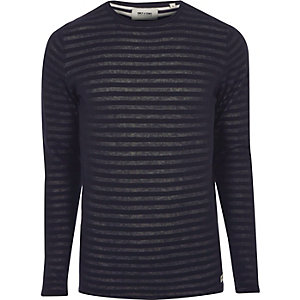 Navy Only & Sons ribbed knit T-shirt