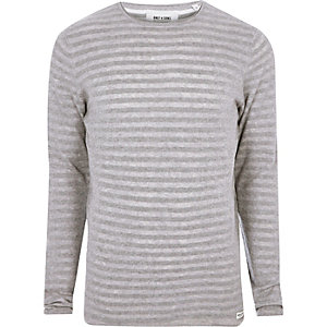 Grey marl Only & Sons ribbed knit T-shirt