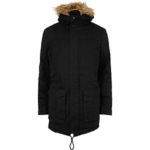Navy Only & Sons faux fur hooded parka