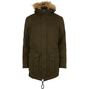 Green Only & Sons faux fur hooded parka