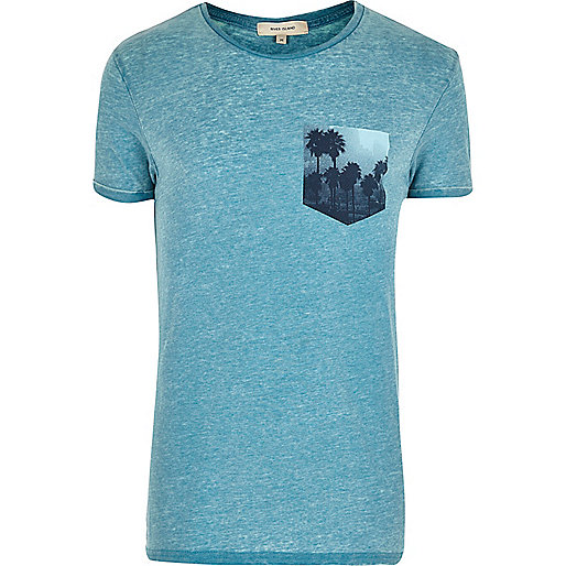 Turquoise chest print T-shirt