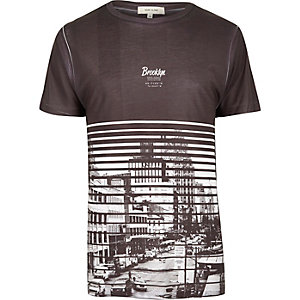 Dark grey Brooklyn print T-shirt