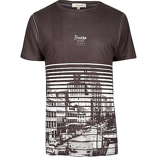 Dark grey Brooklyn print T-shirt