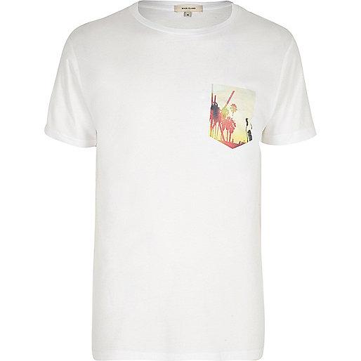 Weißes T-Shirt mit Palmenmotiv