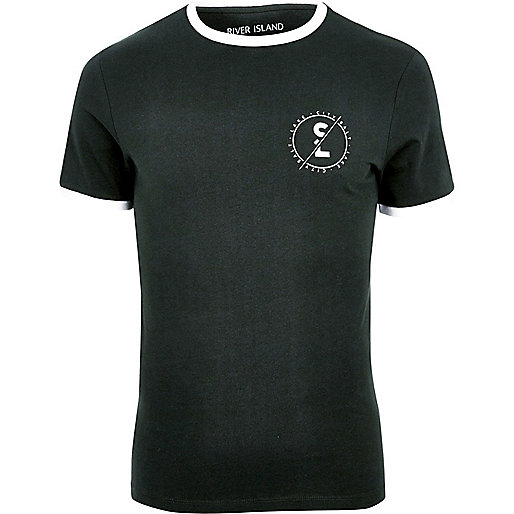 Green muscle fit ringer T-shirt