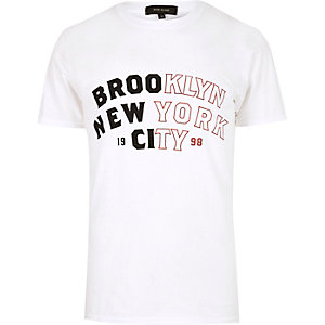White NYC print T-shirt
