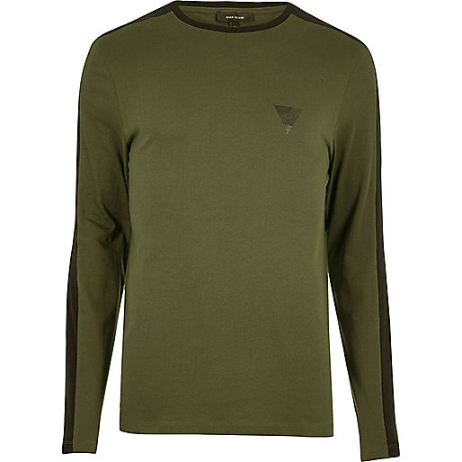 Khaki stripe muscle fit long sleeve T-shirt