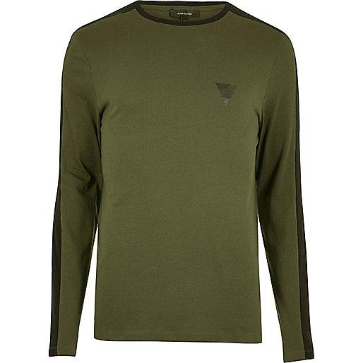 T-shirt rayé kaki ajusté à manches longues