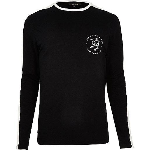 T-shirt rayé noir ajusté à manches longues