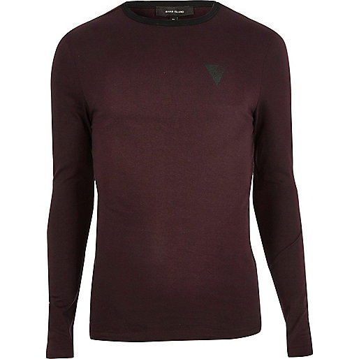 Maroon print muscle fit long sleeve T-shirt