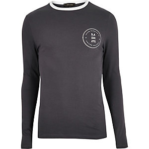 Grey print muscle fit long sleeve T-shirt