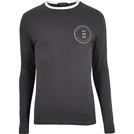 T-shirt imprimé gris ajusté à manches longues