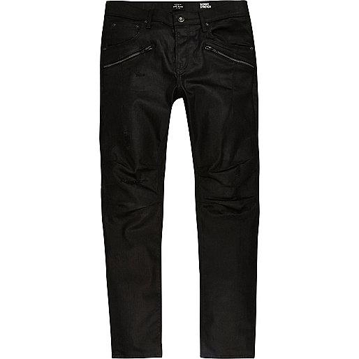 Black coated Sid biker skinny jeans
