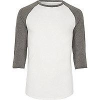 White and grey raglan T-shirt