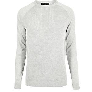 Grey mesh front long sleeve T-shirt